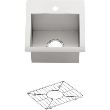 KOHLER Vault 15-in L x 15-in W Stainless Steel 1-Hole Stainless Steel Commercial/Residential Bar Sink   3840-1-NA