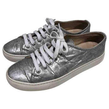 Simone Rocha Silver Leather Trainers