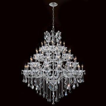 Worldwide Lighting Maria Theresa 49-Light Chrome Glam Crystal Candle Chandelier