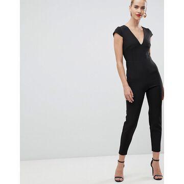 Vesper plunge front fitted jumpsuit in black