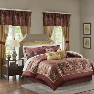 Home Essence Isabella Jacquard 24 Piece Room in a Bag, Red, California King