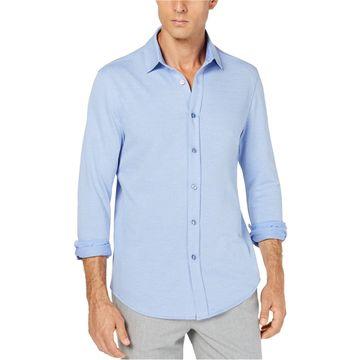 Tasso Elba Mens Herringbone Button Up Shirt