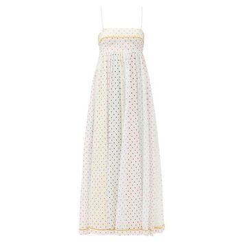 Zimmermann - Bellitude Polka-dot Cotton-gauze Dress - Womens - White Print
