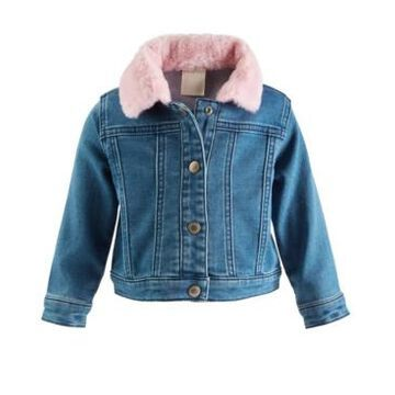 First Impressions Baby Girls Denim Jacket with Faux-Fur Collar, Created for Macy's
