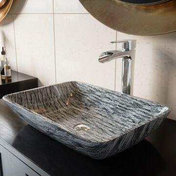 VIGO Titanium Glass Vessel Bathroom Sink Set with Niko Chrome Faucet