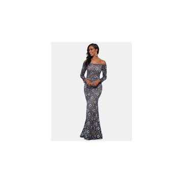XSCAPE Navy Long Sleeve Maxi Dress 6