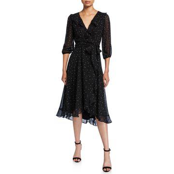 Dot 3/4-Sleeve Ruffle Wrap Dress