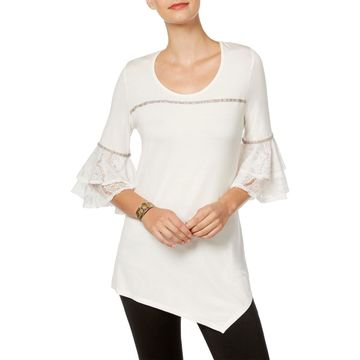 NY Collection Womens Lace Trim Pullover Top