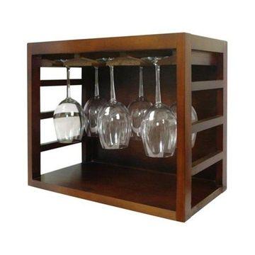 Vinotemp Epicureanist Stackable Wine Glass Rack, Medium Brown