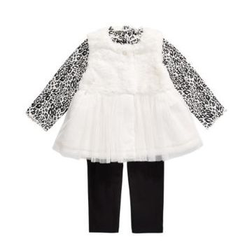 First Impressions Baby Girls 3-Pc. Faux-Fur Vest, Tulle-Hem Tunic & Leggings Set, Created For Macy's