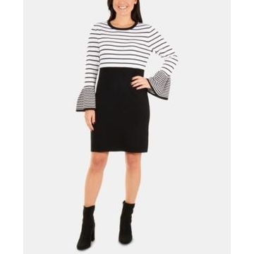 Ny Collection Petite Colorblocked Striped Sweater Dress