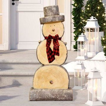 Alpine Corporation Wooden Christmas Snowman Statue Holiday Decoration