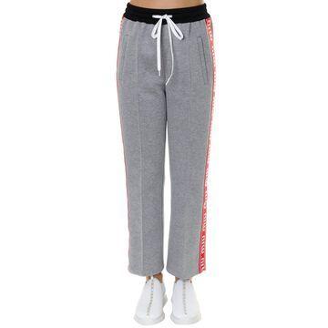 Miu Miu Gray Cotton Blend Trousers With Logo Inserts