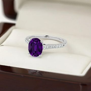 Auriya 9/10ct Fancy Oval Purple Amethyst and Diamond Engagement Ring 1/4ctw 14k Gold (7)