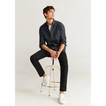 MANGO MAN - Regular fit checked flannel shirt grey - XXS - Men