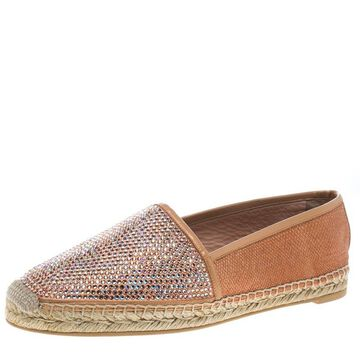 Rene Caovilla Peach Pink Canvas and Crystal Embellished Satin Espadrille Size 41