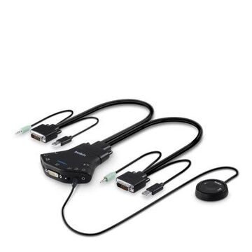 Belkin Secure Flip 2-Port DVI-D KVM w/ Audio and Remote Controller