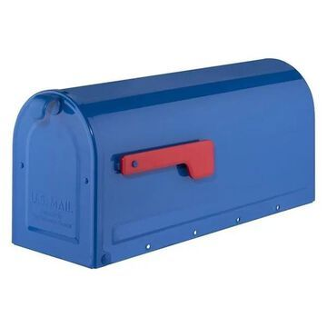 Architectural Mailboxes MB1 Post Mount Mailbox Blue With Red Flag