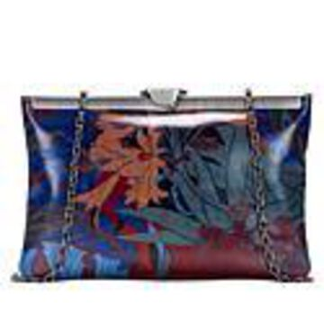 Patricia Nash Leather Gate Frame Clutch - Blue Forest