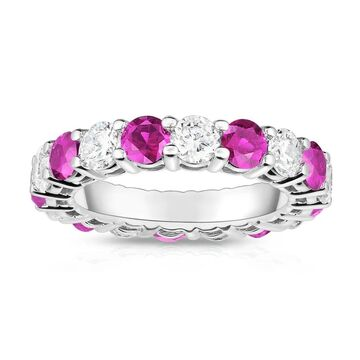 Noray Designs 14K White Gold Pink Sapphire & Diamond (4.00 Ct-5.00 Ct, SI2-I1 Clarity) Eternity Ring