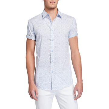 Men's Speckled Short-Sleeve Cotton Sport Shirt