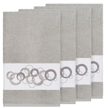 Authentic Hotel and Spa Turkish Cotton Circles Embroidered Light Grey 4-piece Bath Towel Set
