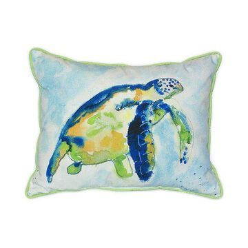 Pair of Betsy Drake Blue Sea Turtle Large Indoor/Outdoor Pillows 16x20