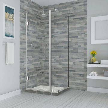Aston Bromley 72-in H x 34-1/4-in to 35-1/4-in W Frameless Hinged Shower Door (Clear Glass) Stainless Steel   SEN967EZSS35293010