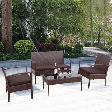 4PCS Patio Rattan Wicker Furniture Set Loveseat Sofa Cushioned Garden Yard US