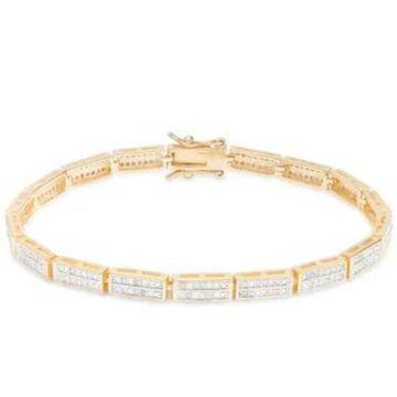 Finesque 1ct TDW Diamond Link Bracelet (White - Gold Plate)