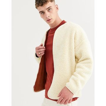 ASOS WHITE reversible liner jacket in ecru borg and rust cord-Beige