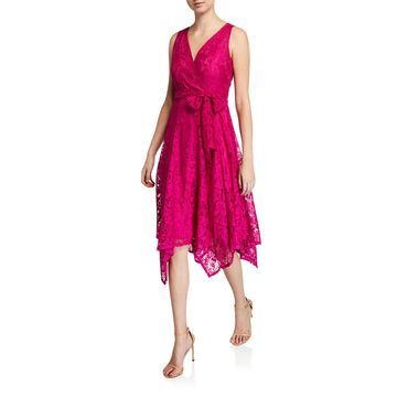 Sleeveless Faux Wrap Dress W/ Asymmetric Hem
