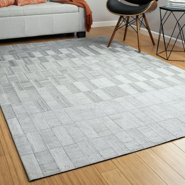 Bombay Home Hidey Grey Faux Cowhide Viscose/Wool Area Rug