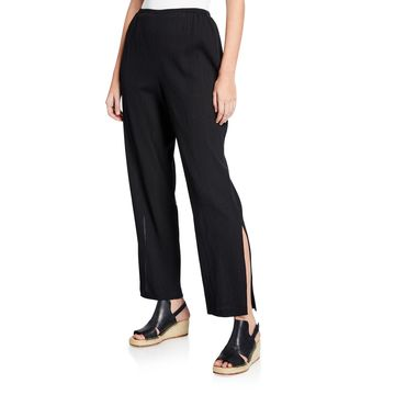 Plus Size Crinkle Cotton Pants with Slits