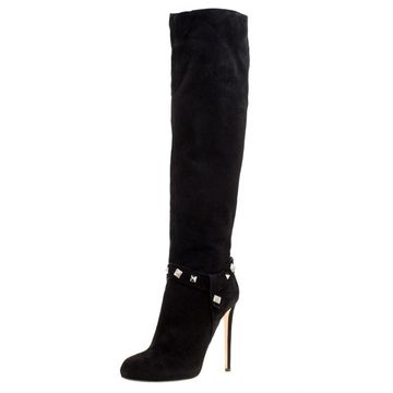 Enio Silla For Le Silla Black Suede Crystal Embellished Pyramid Studs Knee Length Boots Size 40