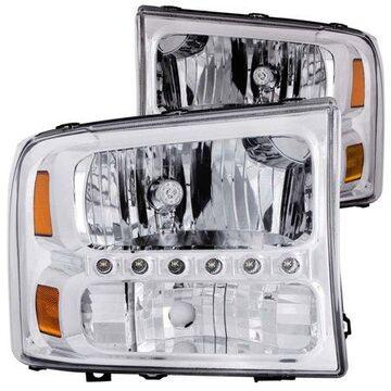 ANZO USA 111088 99-04 F250/F350 SUPER DUTY/00-04 EXCURSION HEADLIGHTS 2 PC. CRYSTAL CLEAR W/LED STRIP