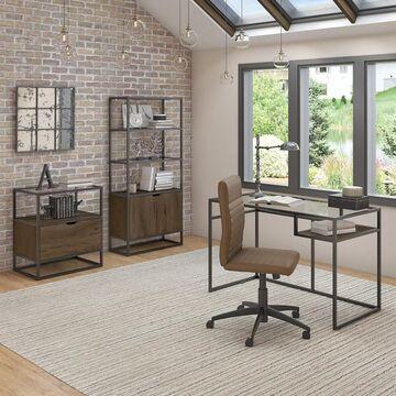 Bush Furniture Anthropology 48W Desk, Bookcase and File Cabinet (Wood - Rectangular - Industrial - Medium - Wood Finish - Brown - Computer Desks -