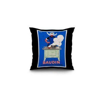 Baudin Vintage Poster (artist: Cappiello, Leonetto) France c. 1933 (16x16 Spun Polyester Pillow, Black Border)