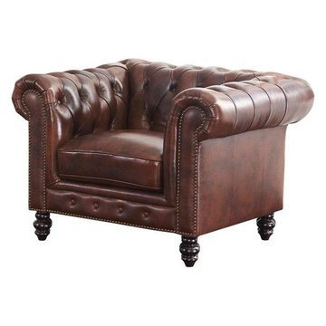 Abbyson Living Grand Chesterfield Leather Armchair, Brown