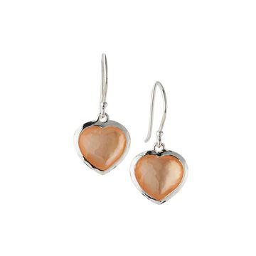 Wonderland Small Heart Wire Earrings in Blush