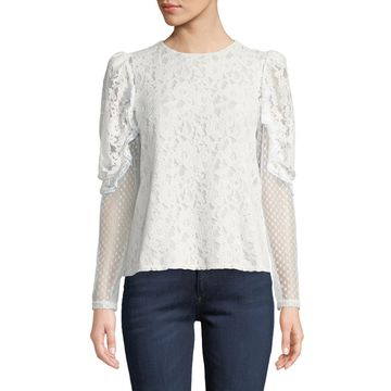 Long-Sleeve Lace Ruffle Crewneck Blouse
