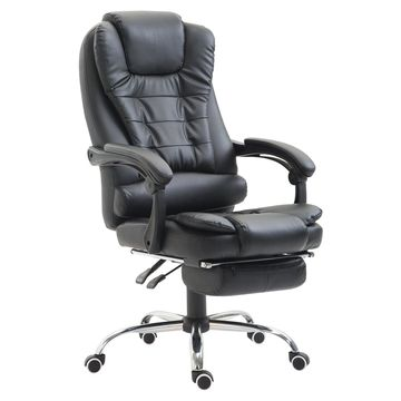 HomCom High Back Reclining PU Leather Executive Office Chair with Footrest (Black)