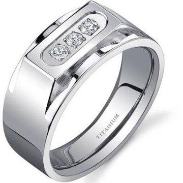 Oravo Men's 3-Stone Titanium Ring, 10mm