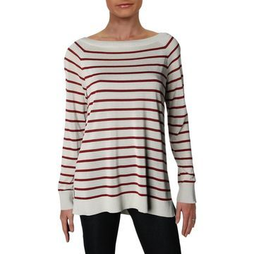 Lafayette 148 New York Womens Striped Lightweight Pullover Sweater