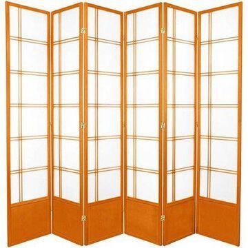 Oriental Furniture 7 Ft Tall Double Cross Shoji Screen, 3 panel, honey