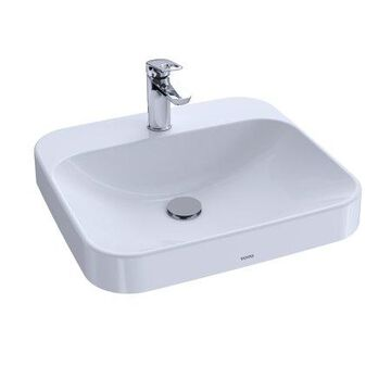 """TOTO Arvina Rectangular 20"""" Vessel Bathroom Sink with CeFiONtect for Single Hole Faucets, Cotton White - LT415G#01"""