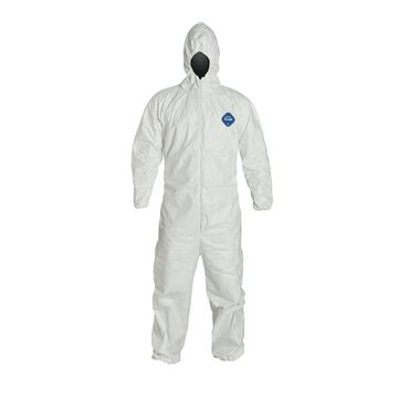 Dupont 251-NB122SWH4X002500 Standard Fit Hood Coverall, 4X-Large, White