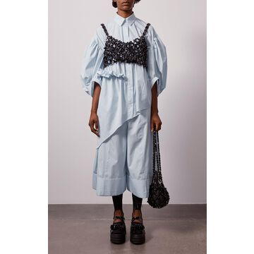 Simone Rocha - Women's Cropped Beaded Bra Top - Black - Moda Operandi