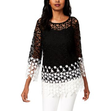 Charter Club Womens Petites Lace Sheer Blouse