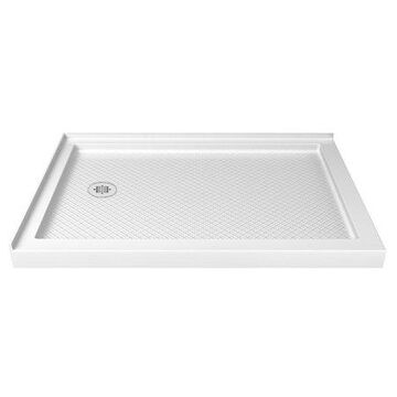 DreamLine SlimLine 36 in. D x 48 in. W x 2 3/4 in. H Left Drain Double Threshold Shower Base in White